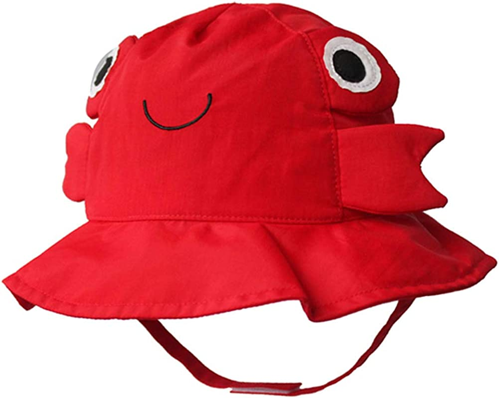 Cotton Breathable Animal Anti UV Sun Protection Bucket Hat with Chin Strap Outdoor Cap for Kids Baby Toddlers Girls//Boys