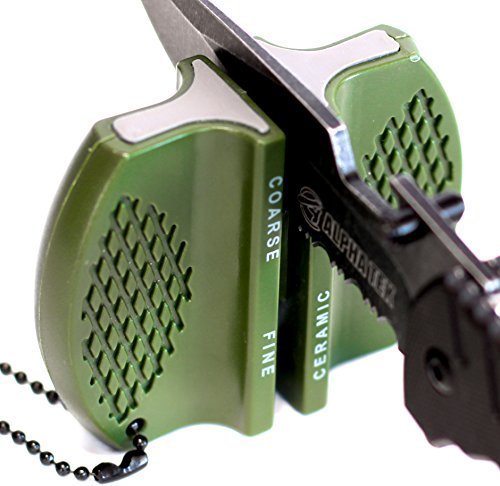 Pocket Knife Sharpener: Tungsten Carbide and Ceramic - For Camping and Outdoors Sharpening (OD GREEN)