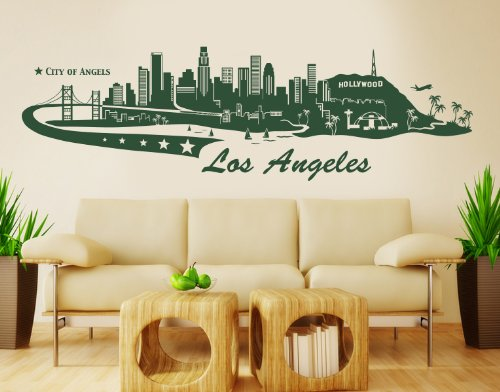 Style & Apply Los Angeles City Skyline Wall Decal Cityscape Wall Decal, Sticker, Mural Vinyl Art Home Decor - 4196 - Black, 47in x 14in