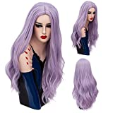 COSPLAZA Natural Wave Wavy Spirals Pale Lavender Synthetic Fiber Cosplay Wigs