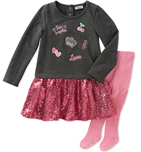 Juicy Couture Girls' Dress and Tight Set, Charcoal