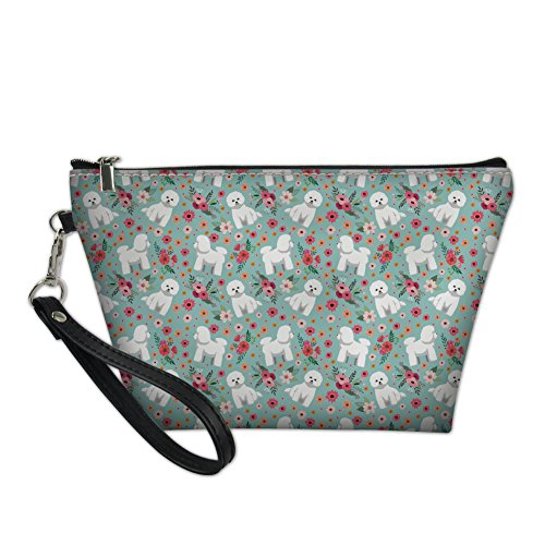 - HUGS IDEA Bichon Frise Flower Stylish Toiletry Pouch Travel Protable Cosmetic Storage Bag Waterproof