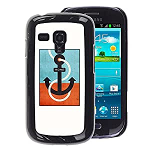 A-type Arte & diseño plástico duro Fundas Cover Cubre Hard Case Cover para Samsung Galaxy S3 MINI 8190 (NOT S3) (Teal Captain White Minimalist Boat)