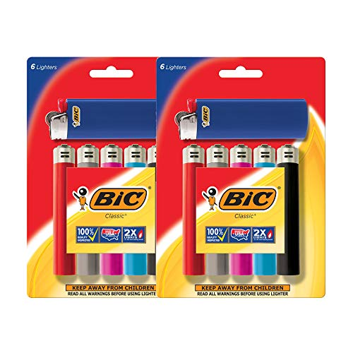 BIC Lighter Classic, Full Size 12 Pieces, Bulk Packaging -