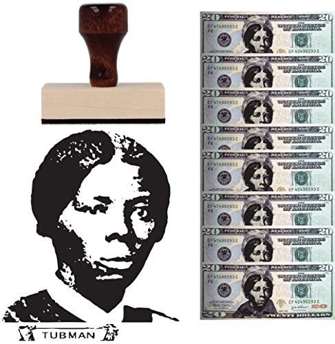 Harriet Tubman Wood Stamp Wooden Handle Rubber Stamper. Replace Andrew Jackson on The 20 Dollar Bill
