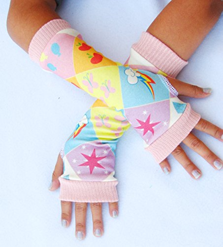 Girls Arm Warmers Cutie Pony Marks Fingerless Gloves Pastels ()