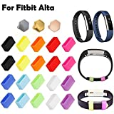 HWHMH Newest Colorful Metal Clasps / Silicon Fastener Ring for Fitbit Alta Band Wireless Activity Bracelet Sport Wristband (Pack of 20)