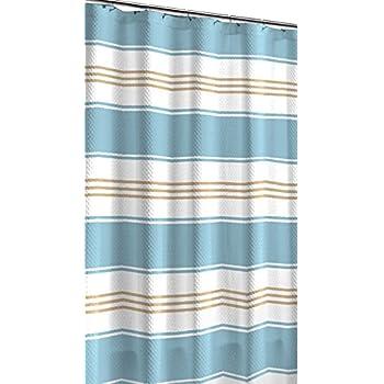 Hamilton Aqua Blue Tan White Canvas Fabric Shower Curtain Contemporary Stripe Design