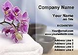 Beauty Salon Spa Treatment Massage Purple Flower Personalized Business Cards