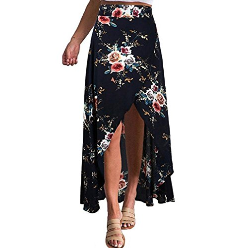 WM & MW Women High-Waisted Chiffon Boho Asymmetrical Split Floral Skirt Sandy Beach Wrap Bandage Maxi Skirt