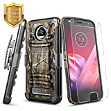 Moto Z Play Case with Tempered Glass Screen Protector, NageBee Belt Clip Holster Built-in Kickstand Heavy Duty Shockproof Combo Rugged Armor Durable Case for Motorola Moto Z Play Droid (2016) -Camo