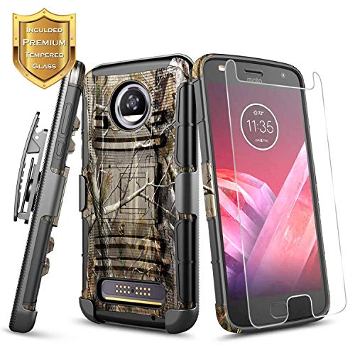 NageBee Moto Z Play Case with Tempered Glass Screen Protector, Belt Clip Holster Built-in Kickstand Heavy Duty Shockproof Combo Rugged Armor Durable Case for Motorola Moto Z Play Droid (2016) -Camo