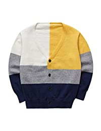 Sooxiwood Little Boys Cardigan Thin Buttons Down V-Neck