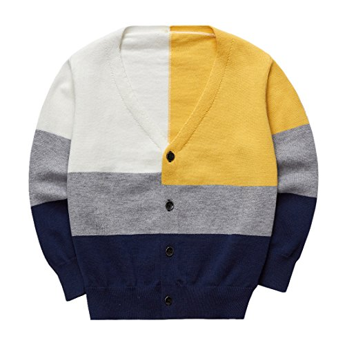 Sooxiwood Little Boys Cardigan Thin Buttons Down V-Neck Size 3T Yellow by Sooxiwood