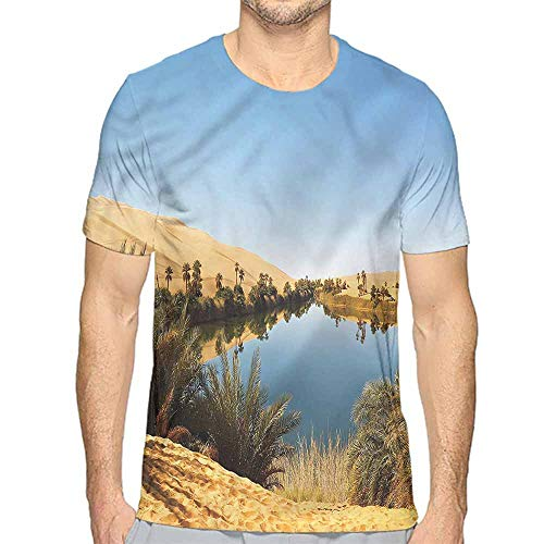 Mens t Shirt Desert,Idyllic Oasis Awbari HD Print t Shirt XXL
