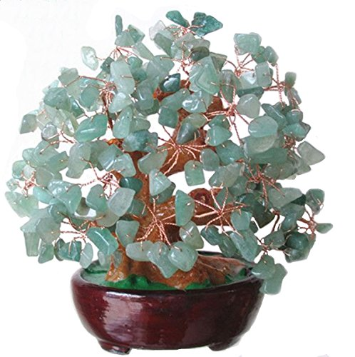 (INK WASH 6.3 Inch Feng Shui Money Tree Natural Green Crystal Aventurine Quartz Gem Stone Money Tree Products + Set of 10 Lucky Charm Ancient Coins on Red String,Good Luck Decoration)