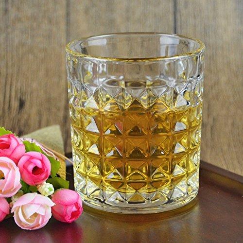 King International Crystal Diamond Cut Straight Whiskey Glasses| Wine Glasses | Home & Bar Tableware| Set of 6 Glasses | 300 ml