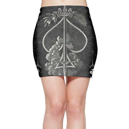 - Ace Of Spades Poker Card Sexy Women'sshort Skirts Plus Size Tie Dye S-XL