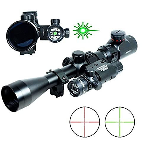3-9x40 Hunting Rifle Scope Mil-Dot illuminated Sniper Scope & Green Laser Sight Combo Airsoft Gun Weapon (Green Dot Laser For Gun)
