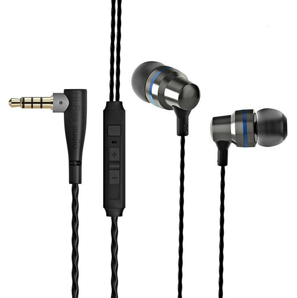 auriculares con microfono, Sannysis soporte auriculares in ear headphone deportivos auriculares estéreo conector jack de audio de 3,5 mm universal soporte Móvil, iPhone, Samsung, MP3 (Negro) [Clase de eficiencia energética A+++]