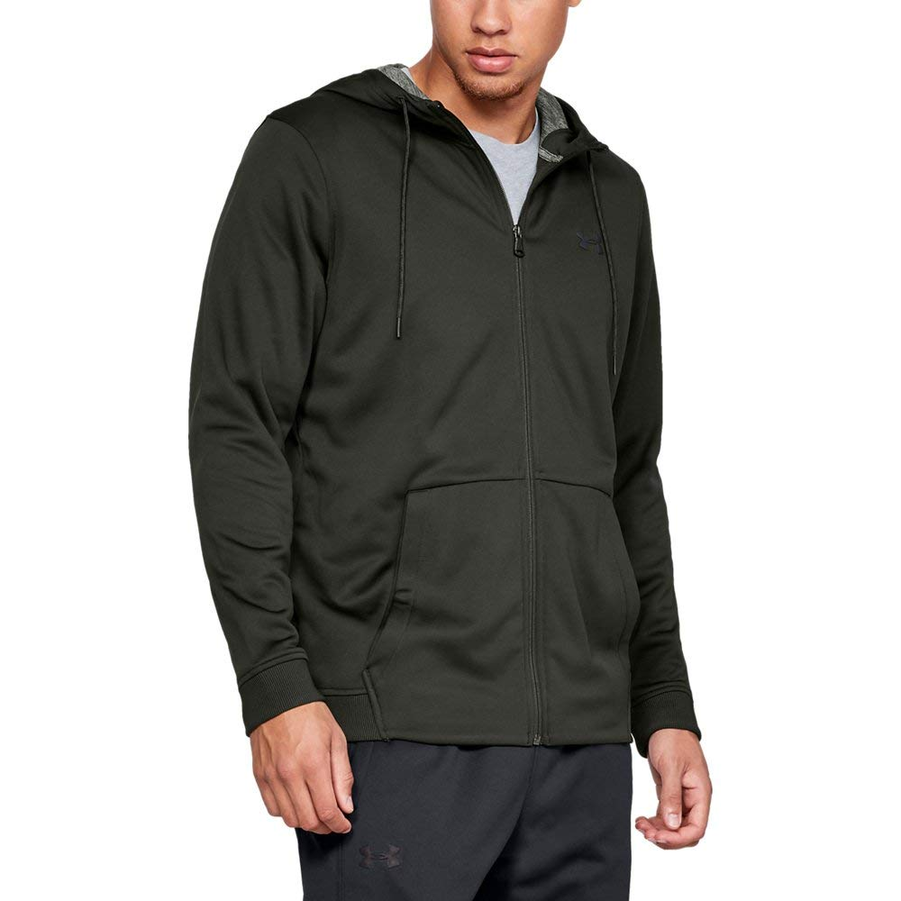 Under Armour Men's Armour Fleece Full Zip Hoodie, Artillery Green (357)/Black, Medium
