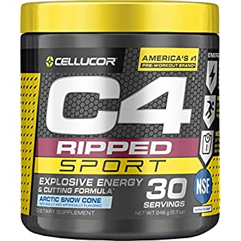 9bbd9698254376 CELLUCOR C4 Ripped Sport Pre Workout Powder, Arctic Snow Cone, 30 Servings  - Preworkout for Men & Women with Green Coffee Bean Extract & L Carnitine