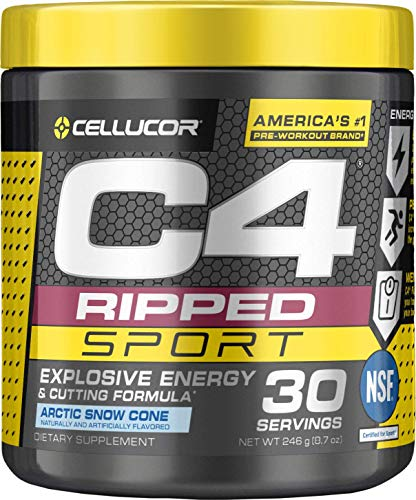 CELLUCOR C4 Ripped Sport Pre Workout Powder, Arctic Snow Cone, 30 Servings - Preworkout for Men & Women with Green Coffee Bean Extract & L Carnitine