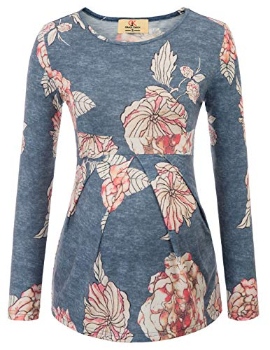 Maternity Simple Basin Autumn Long Sleeve Wrapped Floral Tops - Top Neck Empire Waist