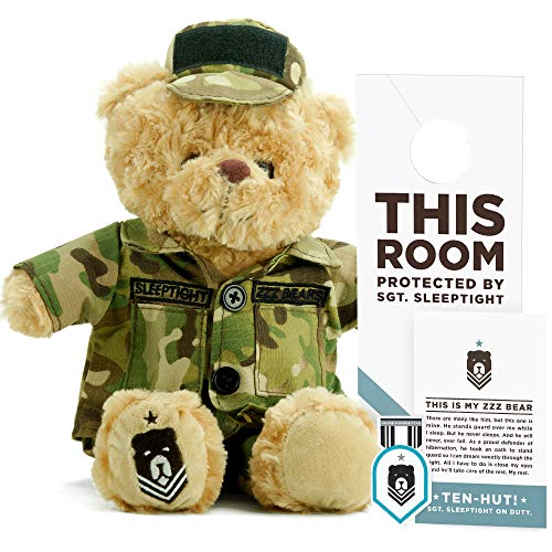 ZZZ Bears SGT. Sleeptight Army Teddy Bear - Military Plush Toy, Four Step Sleep System to Help with Bedtime (Army Camouflage) ()