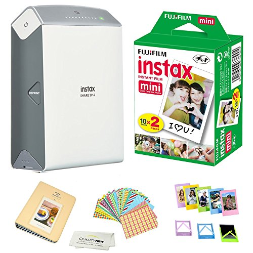 Fujifilm Instax Share SP-2 Portable Smart Phone Photo Printer w/Instax Photo Paper Film Pack + Accessory Kit Bundle - Instantly Print Pictures from iPhone or Any Smartphone & Tablet (Silver)