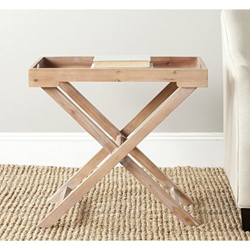 Safavieh AMH6624B American Homes Collection Leo Accent Table, Red Maple