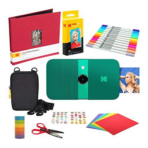 KODAK Smile Instant Print Digital Camera (Green) Scrapbook Kit with Soft Case