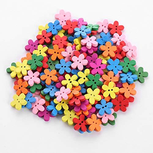 per Bambini Cucito Scrapbooking per Fai da Te MoGist 100 Bottoni in Legno a Forma di Fiore