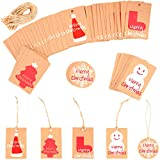 200Pcs Christmas Gift Tags with String, Christmas Tree Kraft Paper Hang Tags Xmas Present Gift Labels for Arts and Crafts, Christmas Day Thanksgiving and Holiday Party Favor Tags