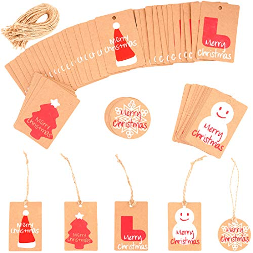 200Pcs Christmas Gift Tags with String, Christmas Tree Kraft Paper Hang Tags Xmas Present Gift Labels for Arts and Crafts, Christmas Day Thanksgiving and Holiday Party Favor Tags -