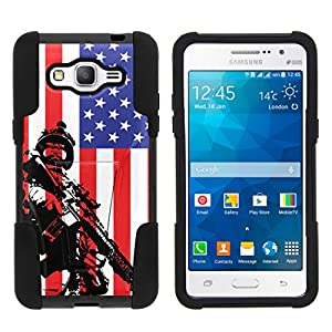 TurtleArmor | Compatible for Samsung Galaxy Grand Prime Case | G530 | Go Prime [Gel Max] Dual Layer Hybrid Kickstand Feature Absorber Silicone Cover War and Military Design - American Soldier