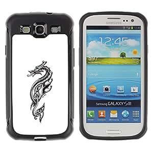 ZAKO CASES / Samsung Galaxy S3 I9300 / Tribal Dragon / Robusto Prueba de choques Caso Billetera cubierta Shell Armor Funda Case Cover Slim Armor