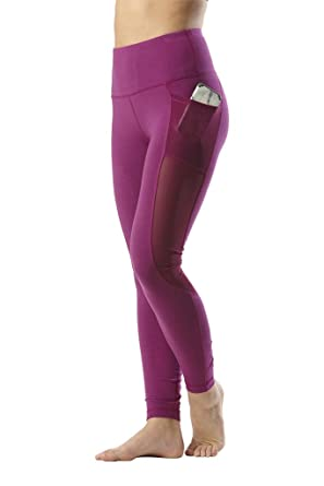 4940afbec96 Yogalicious High Waist Mesh Leggings with Phone Pocket - Tummy Control Yoga  Pants - Heather Festival