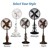 """Indoor and Outdoor 18"""" Standing Pedestal Fan - Beautiful Style Keeps You Cool All Year Round (Rustico)"""