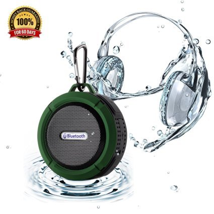 Winstion Wireless Bluetooth Waterproof Outdoor/ Shower Speaker with 5W Speaker/Suction Cup With Microphone Hands-Free Speakerphone (Army Green)