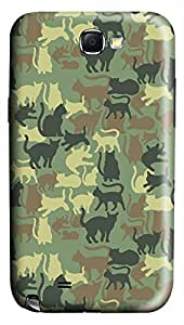 CaseandHome Camouflage Pattern with Cat Design Hard Case for Samsung Galaxy N7100 Note 2