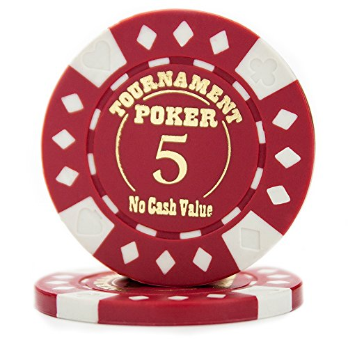 Pack of 25 Professional Tournament Hot-Stamped 12.5 Gram Poker Chips (Red)