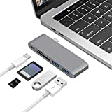 USB Type C Hub 5 in 1 Adapter,Type-C Adapter with 2 USB 3.0 Port Hub SD/TF Card Reader and OTG Combo Converter Splitter Adapter Power Port for MacBook Pro 13''/15'' and More Other Laptop