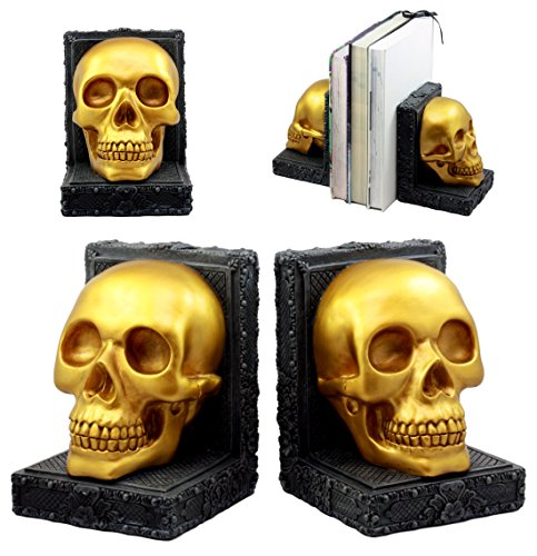 - Ebros Pirate's Treasure Golden Skull Bookends Set 7
