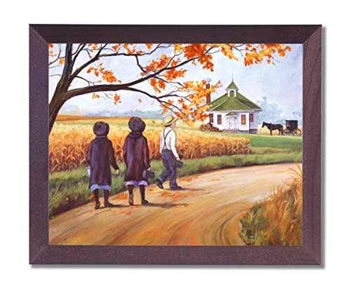 Amish Horse Buggy - Framed Cherry Amish School Horse Buggy Girls Pictures Art Print