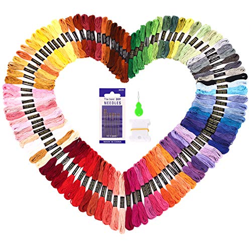 Embroidery Floss Skein - Embroidery Floss SOLEDI Embroidery Thread 100 Skeins Rainbow Colors Cross Stitch Threads for Friendship Bracelets with Embroidery Tools