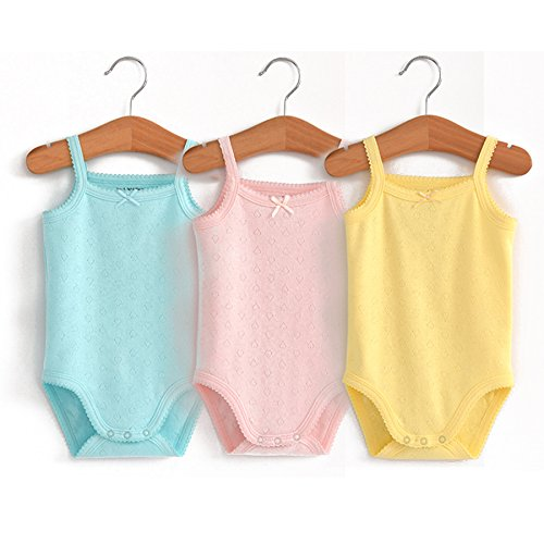 Unisex-Baby Sleeveless Onsies Tank Top Cotton Baby Bodysuit 3-Pack of Cardigan Onsies for Infants