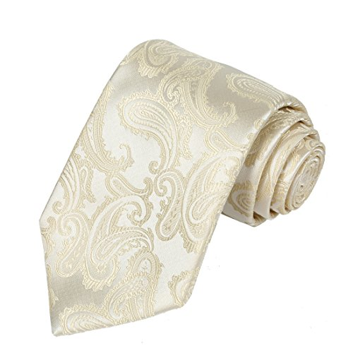 KissTies Cream Ivory Tie Mens Wedding Neckties + Gift Box