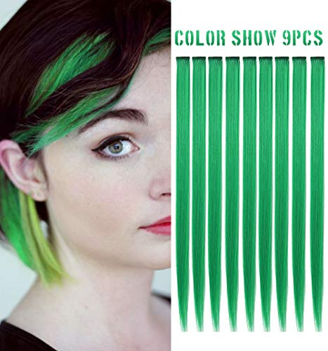 RHY 9 PCS Green Hair Princess Party Highlight Clip in Colored Hair Extension Costumes Hairpieces for American Girls/Dolls