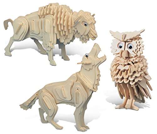 Puzzled Owl Wolf and Buffalo 3D Jigsaw Woodcraft Construction Puzzle Kit Set - Brainteaser Animal Skeleton Models 242 Piece Build and Paint Educational 3 Pack Item K1120-1208-1261-1